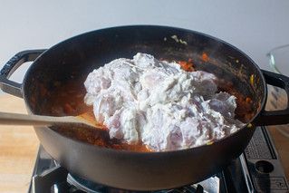 add the marinated chicken