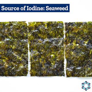 Seaweed types that contain Iodine Kelp Bladderwrack Nori Wakame Kombu Hijiki